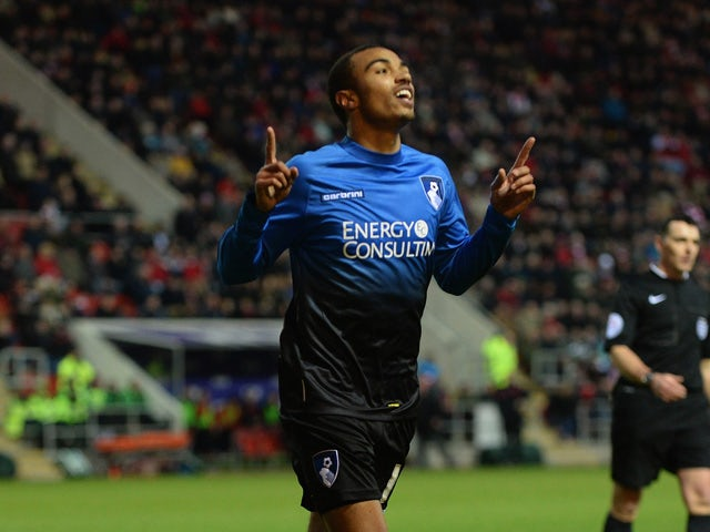 Ryan Stanislas of Bournemouth celebrates after scoring their second goal during the FA Cup Third Round match between Rotherham United and Bournemouth at The New York Stadium on January 3, 2015