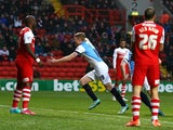 Chris Taylor of Blackburn celebrates after scoring the first goal of the game during the FA Cup Third Round match against Charlton Athletic on January 3, 2015
