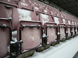 A general view of snow on the seats in the West Stand prior to the npower League Two match between Northampton Town and Burton Albion at Sixfields Stadium on January 19, 2013