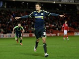 Jelle Vossen of Middlesbrough celebrates his goal during the FA Cup Third Round match between Barnsley and Middlesbrough at Oakwell Stadium on January 3, 2015