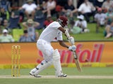 West Indies batsman Leon Johnson plays a shot during the third day of the first cricket Test match between South Africa and the West Indies at the Supersport Park in Centurion on December 19, 2014