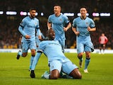 Yaya Toure of Manchester City celebrates the opening goal during the Barclays Premier League match between Manchester City and Sunderland at Etihad Stadium on January 1, 2015
