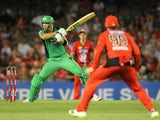 Kevin Pietersen of the Stars plays a shot during the Big Bash League match between the Melbourne Renegades and the Melbourne Stars at Etihad Stadium on January 3, 2015