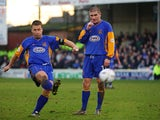 Nigel Jemson of Shrewsbury Town taking a free-kick which results in a goal during the FA Cup Third Round match between Shrewsbury Town and Everton held on January 4, 2003