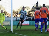 Blyth Spartans' Robert Dale celebrates after scoring the opening goal during the FA Cup Third Round match against Birmingham City on January 3, 2015