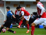 Richard Brindley of Rotherham United shoots to score their first goal during the FA Cup Third Round match between Rotherham United and Bournemouth at The New York Stadium on January 3, 2015