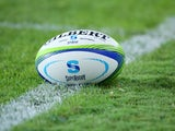 A general view of the match ball is tackled seen during the Super Rugby trial match between the Waratahs and the Blues at Allianz Stadium on February 7, 2014