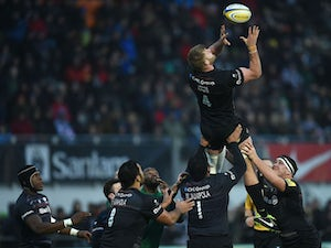 George Kruis of Saracens in action during the Aviva Premiership match between Saracens and London Irish at Allianz Park on January 03, 2015