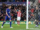 Ryan Shawcross of Stoke City celebrates scoring the first goal during the Barclays Premier League match between Stoke City and Manchester United at Britannia Stadium on January 1, 2015