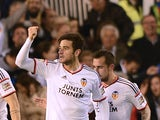 Valencia's defender Antonio Barragan Fernandez celebrates his goal during the Spanish league football match Valencia CF v Real Madrid CF at the Mestalla stadium in Valencia on January 4, 2015