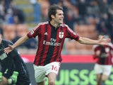 Andrea Poli of Milan celebrates after scoring the opening goal during the Serie A match between AC Milan and US Sassuolo Calcio at Stadio Giuseppe Meazza on January 6, 2015