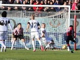Godfred Donsah of Cagliari scores the goal to 2-0 during the Serie A match between Cagliari Calcio and AC Cesena at Stadio Sant'Elia on January 11, 2015