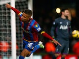 Despair for Hugo Lloris of Spurs as Dwight Gayle of Crystal Palace celebrates scoring their first and equalisin goal from a penalty during the Barclays Premier League match between Crystal Palace and Tottenham Hotspur at Selhurst Park on January 10, 2015