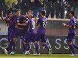 Manuel Pasqual of Fiorentina celebrates with team mates after scoring the opening goal during the Serire A match between ACF Fiorentina and US Citta di Palermo at Stadio Artemio Franchi on January 11, 2015