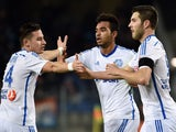 Marseille's French forward Billel Omrani is congratulated by Marseille's French forward Andre-Pierre Gignac and Marseille's French midfielder Florian Thauvin after scoring a goal during the French L1 football match between Montpellier and Marseille, on Ja