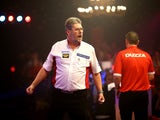 Martin Adams of England celebrates winning a set during his semi final match against Glen Durrant of England during the BDO Lakeside World Professional Darts Championships on Day Eight at The Lakeside Country Club on January 10, 2015