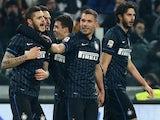 Inter Milan's Argentinian forward Mauro Emanuel Icardi celebrates after scoring during the Italian Serie A football match Juventus Vs Inter Milan on January 6, 2015