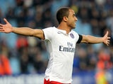 Paris Saint-Germain's Brazilian midfielder Lucas Moura celebrates after scoring a goal during the French L1 football match between Bastia and Paris Saint Germain (PSG) at the Armand Cesari stadium in Bastia on the French Mediterranean island of Corsica on