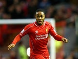 Raheem Sterling of Liverpool in action during the Barclays Premier League match between Liverpool and Leicester City at Anfield on January 1, 2015