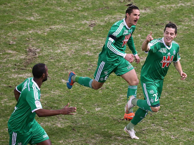 Saint-Etienne's French midfielder Romain Hamouma celebrates after scoring a goal during the French L1 football match between Reims (RS) and Saint-Etienne (ASSE) on January 10, 2015
