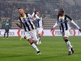 Cyril Thereau # 77 of Udinese Calcio celebrates after scoring hjis team's opening goal during the Serire A match between US Sassuolo Calcio and Udinese Calcio on January 10, 2015