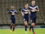 Bordeaux's Uruguyan forward Diego Rolan celebrates after scoring a goal during the French L1 football match between Bordeaux (FCGB) and Nice (OGCN) on January 16, 2015