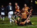 Rory McArdle of Bradford City rushes to congratulate Jon Stead after the second goal during the FA Cup Third Round Replay between Bradford City and Millwall at Coral Windows Stadium, Valley Parade on January 14, 2015
