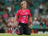 Brett Lee of the Sixers reacts during the Big Bash League match between the Sydney Sixers and Melbourne Renegades at Sydney Cricket Ground on December 19, 2014