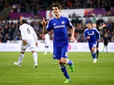 Oscar of Chelsea celebrates after scoring his team's fourth goal during the Barclays Premier League match between Swansea City and Chelsea at Liberty Stadium on January 17, 2015