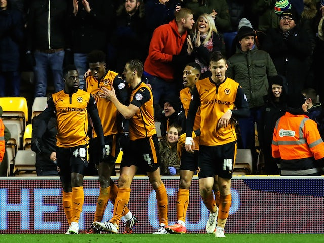 David Edwards of Wolves celebrates with team-mates after scoring his team's first goal during the FA Cup third round replay match against Fulham on January 13, 2015