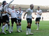 Johnny Russell of Derby celebrates after his corner was turned in for the first goal during the Sky Bet Championship Match between Derby County and Nottingham Forest at iPro Stadium on January 17, 2015