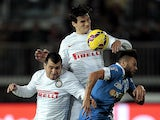 Francesco Tavano of Empoli FC battles for the ball with Gary Medel and Marco Andreolli of FC Internazionale during the Serie A match between Empoli FC and FC Internazionale Milano at Stadio Carlo Castellani on January 17, 2015