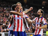 Fernando Torres of Atletico de Madrid celebrates after scoring Atletico's opening goal during the Copa del Rey Round of 16, Second leg match against Real Madrid on January 15, 2015