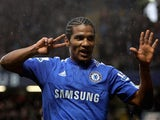 Florent Malouda of Chelsea celebrates after scoring his team's second goal during the Barclays Premier League match against Sunderland on January 15, 2015