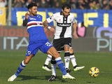 Francesco Lodi (R) of Parma FC competes for the ball with Roberto Soriano (L) of UC Sampdoria during the Serie A match on January 18, 2015