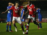 Jay Emmanuel-Thomas (r) of Bristol City celebrates scoring with team mate Aden Flint during the FA Cup Third Round Replay against Doncaster Rovers on January 13, 2015