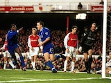 John Terry of Chelsea celebrates scoring during the FA Carling Premiership game against Arsenal on January 13, 2001