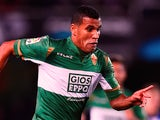 Jonathas Cristian de Jesus of Elche FC runs with the ball during the La Liga match between Real Socided and Elche FC at Estadio Anoeta on November 28, 2014