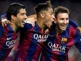 Luis Suarez, Neymar and Lionel Messi of Barcelona celebrate during the La Liga match against Atletico Madrid on January 11, 2015