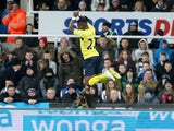 Southampton's Dutch midfielder Eljero Elia celebrates scoring his and Southampton's second goal during the English Premier League football match between Newcastle United and Southampton at St James' Park in Newcastle-upon-Tyne, north east England, on Janu
