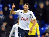 Tottenham Hotspur's French midfielder Etienne Capoue celebrates scoring the equalising goal during the English FA Cup Third Round football match replay betweenTottenham Hotspur and Burnley at White Hart Lane in London, on January 14, 2015