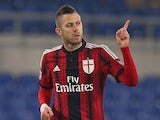 Jeremy Menez of AC Milan celebrates after scoring the opening goal during the Serie A match between SS Lazio and AC Milan at Stadio Olimpico on January 24, 2015