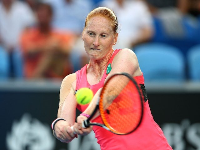 Alison Van Uytvanck in action against Serena Williams on day two of the Australian Open on January 20, 2015