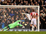 Andros Townsend of Spurs scores the opening goal past Mark Howard of Sheffield United from the penalty spot during the Capital One Cup Semi-Final first leg match on January 21, 2015
