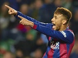 Neymar JR of Barcelona celebrates after scoring during the La Liga match between Elche FC and FC Barcelona at Estadio Manuel Martinez Valero on January 24, 2015