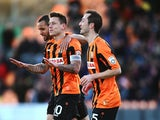 Charlie Macdonald celebrates with Luisma Villa and Curtis Weston after he scores to make it 1-0 during the Vanarama Football Conference League match between Barnet and Southport at The Hive on January 24, 2015