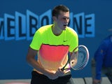 Bernard Tomic in action on day one of the Australian Open on January 19, 2015