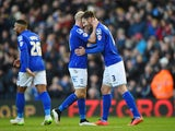 Jonathan Grounds of Birmingham City celebrates his goal with David Cotterill during the FA Cup Fourth Round match between Birmingham City and West Bromwich Albion at St Andrews on January 24, 2015