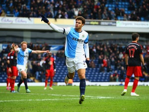 Rudy Gestede of Blackburn Rovers (39) celebrates as he scores their second goal during the FA Cup Fourth Round match between Blackburn Rovers and Swansea City at Ewood park on January 24, 2015