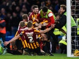 Andrew Halliday of Bradford City is congratulated by teammates after scoring his team's third goal during the FA Cup Fourth Round match between Chelsea and Bradford City at Stamford Bridge on January 24, 2015